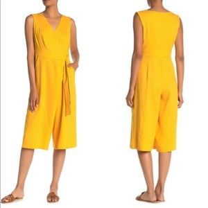 NWT Tash + Sophie Yellow Size Cropped Jumpsuit 22W